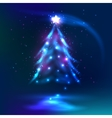 Christmas tree dark glowing background vector image vector image