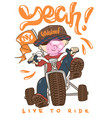 cool kid on bike t-shirt print vector image vector image