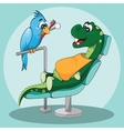 Dental care for kids Happy dinosaur with dentist vector image