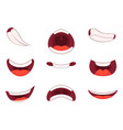 different emotions of cartoon mouths with funny vector image vector image