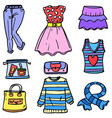 doodle of women clothes set object vector image
