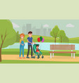 family jaunt flat poster vector image vector image