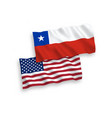 flags chile and america on a white background vector image