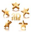 golden 3d stars vector image