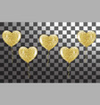 golden balloons in the shape of a heart on a vector image vector image