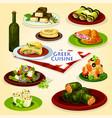 greek cuisine healthy lunch cartoon poster vector image vector image