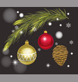 greeting card with a spruce branch and toys vector image