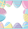 happy easter eggs decoration frame vector image