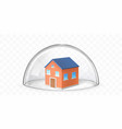 house covered with glass dome realistic vector image