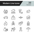 insurance icons modern line design set 39 vector image vector image