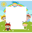 Kids with large sheet of paper vector image vector image
