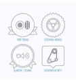 Klaxon signal tire and steering wheel icons vector image vector image