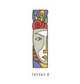 letter i with mask vector image vector image