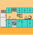 line kitchen interior with furniture vector image vector image