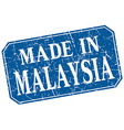 made in Malaysia blue square grunge stamp vector image vector image