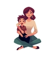 Mother and son sitting on the floor hugging each vector image