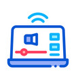 online podcast on laptop icon outline vector image