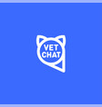 pets chat logo veterinarian chat vector image vector image