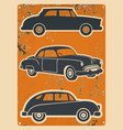 retro cars stickers set vintage auto vector image