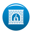 retro fireplace icon blue vector image vector image
