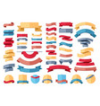 ribbon stripes template set red banner vector image