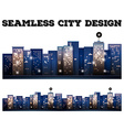 Seamless city buildings with light on vector image