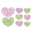 set of big hearts with lettering about love vector image vector image