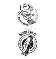 set of vintage barbershop emblems labels badges vector image vector image