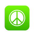 sign hippie peace icon digital green vector image