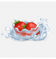 strawberries drop in water isolated vector image