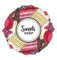 sweets shop banner with cakes and cookies vector image vector image