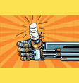 thumb up like gesture the robot hand is bandaged vector image vector image