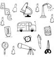 Tools school hand draw in doodle vector image vector image