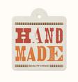 vintage letterpress printed hanging label hand vector image vector image