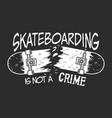 vintage skateboarding monochrome badge vector image vector image