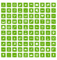 100 victory icons set grunge green vector image vector image