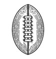 american football ball in engraving style design vector image