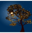 Autumn tree on a background lunar night vector image