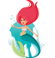 beautiful mermaid cartoon vector image vector image
