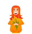 beautiful woman with bunch vector image vector image