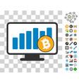 bitcoin bar chart monitoring icon with bonus vector image vector image