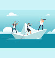business team with leader sailing on paper boat