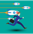 businessman running along with dashing rockets vector image vector image