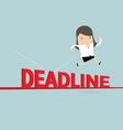 businesswoman jump over deadline vector image vector image