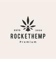 cannabis rocket hemp hipster vintage logo icon vector image vector image