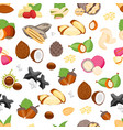 cartoon color nuts background pattern on a white vector image