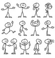 cartoon hand drawn stick man in different poses vector image vector image