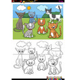 cats and kittens characters group color book page vector image vector image