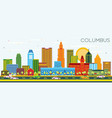 columbus ohio city skyline with color buildings vector image