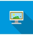 Computer monitor with photo icon flat style vector image vector image